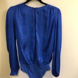 EXPRESS Fitted Long-Sleeve Blouse Bodysuit